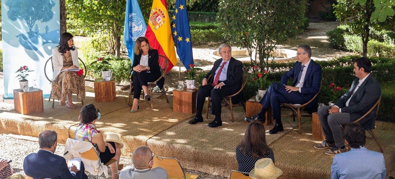 El Secretario General de la ONU durante su visita a Madrid.