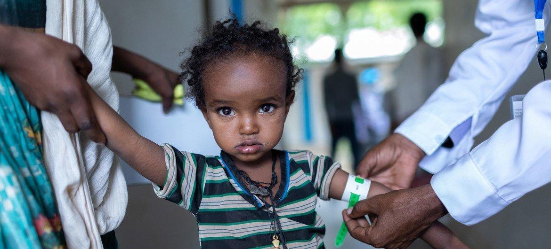طفلة صغيرة تخضع لفحص طبي في أحد المراكز الصحية في إقليم تيغراي شمال إثيوبيا.