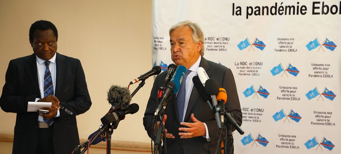 The UN Secretary-General António Guterres addresses the media in Kinshasa, the capital of the Democratic Republic of the Congo on 2 September 2019.