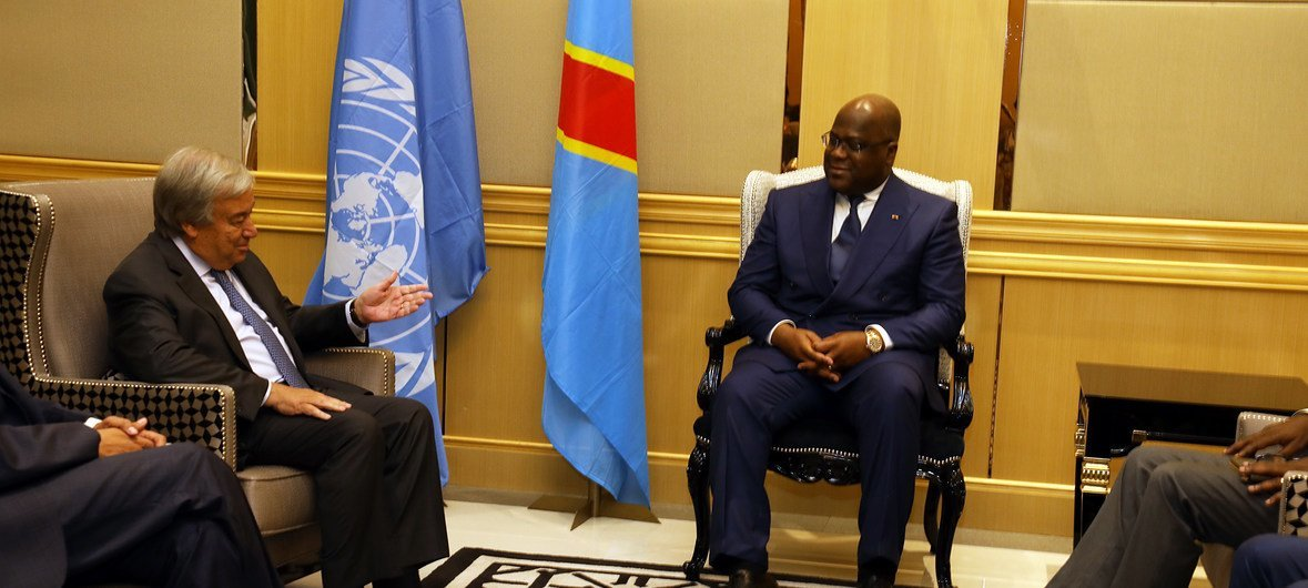 The UN Secretary-General António Guterres (l) meets the President Felix Tshisekedi of the Democratic Republic of the Congo in Kinshasa on 2 September 2019.