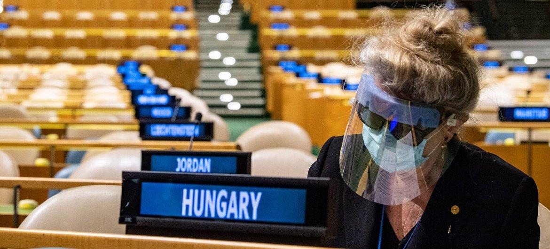 匈牙利常驻联合国代表在联大选举期间准备选票。