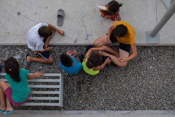 Children play in Mexico's first shelter exclusively for refugees and asylum-seekers.