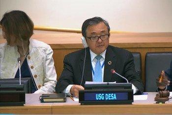 联合国主管经济和社会事务的副秘书长刘振民在联合国大会第74届会议第二委员会开幕式上讲话。(2019年10月2日)