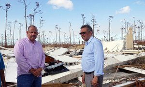 Dr. Tedros Adhanom Ghebreyesus (right), Director-General of the World Health Organization (WHO) and Dr. Duane Sands, Minister of Health of the Bahamas, tour the devastated sites in the country to assess health impacts of Hurricane Dorian.