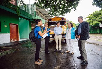 UNHCR High Commissioner Filippo Grandi visits a refugee shelter in Tapachula, Mexico, on September 28, 2019.