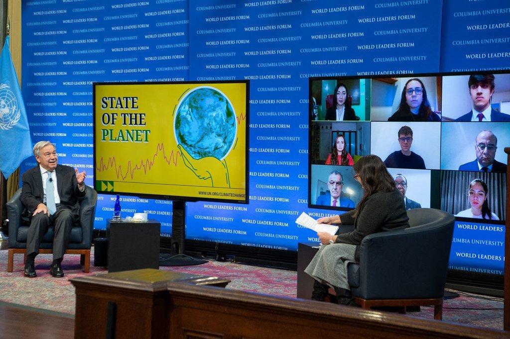 Katibu Mkuu wa Umoja wa Mataifa António Guterres akizungumza hali ya sayari dunia akiwa na Profesa Raymo chuo cha Columbia jijini New York.
