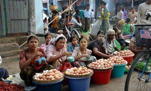 Women sell eggs at the market of Sittwe, capital of Rakhine State. (file)