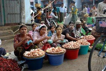 म्याँमार के राख़ीन प्रान्त की राजधानी सित्वे के बाज़ार में महिलाएँ अण्डे बेच रही हैं.