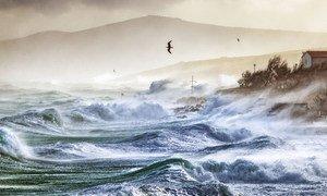 Marejada extrema en las costas croatas bañadas por el mar adriático.