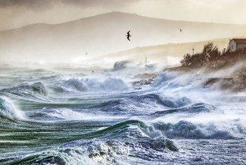 Extreme weather hits the Adriatic sea in Ražanac, Croatia.
