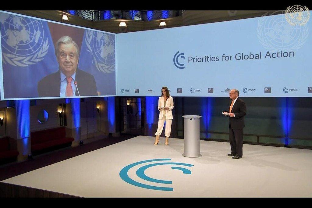Le secrétaire général de l'ONU, Antonio Guterres, s'exprimant lors de la conférence de Munich sur la sécurité de 2021