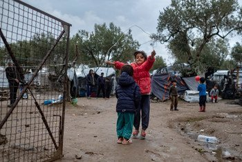 Children skip rope outside the Reception and Identification Centre in Moria in Lesvos, on December 15, 2018.