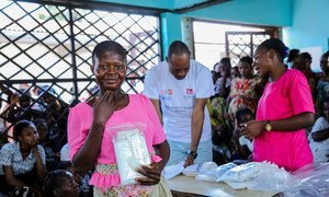 The United Nations Population Fund (UNFPA) distributes clean baby delivery kits to women in Kasaï province, Democratic Republic of the Congo.