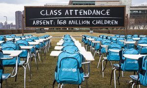 UNICEF's 'Pandemic Classroom' at the UN Headquarters in New York. Each empty desk and chair represents the million children living in countries where schools have been almost entirely closed.