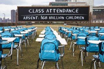 Instalação do Unicef, na sede da ONU em Nova Iorque, alerta para fechamento de escolas em todo o mundo