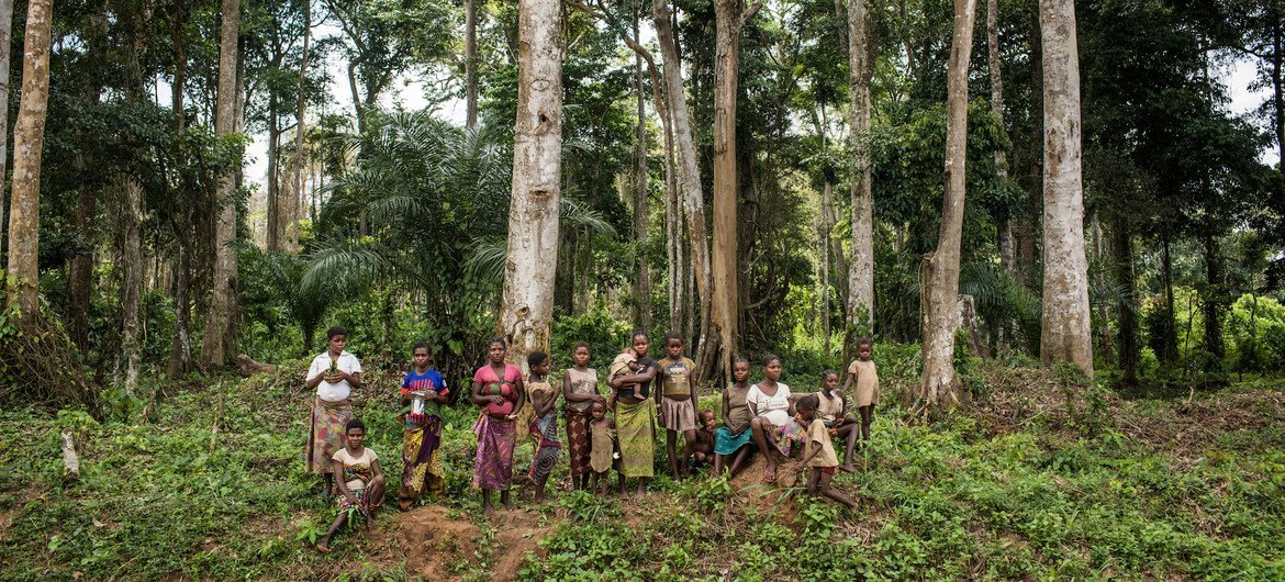 Members of an indigenous community, living in the forests in one of the most remote regions of Republic of the Congo.