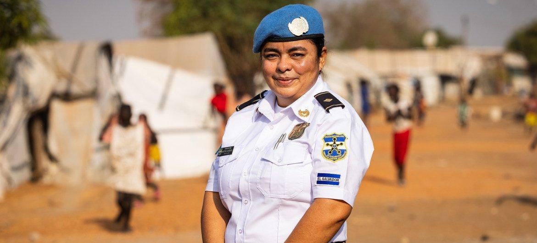 Martina Sandoval, officier de l'UNPOL du Salvador, en poste à la MINUSS, la mission des Nations Unies au Soudan du Sud