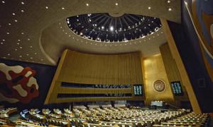 Vue de la salle de l'Assemblée générale des Nations Unies. Les Etat membres poursuivent leurs travaux à distance en raison de la pandémie de Covid-19