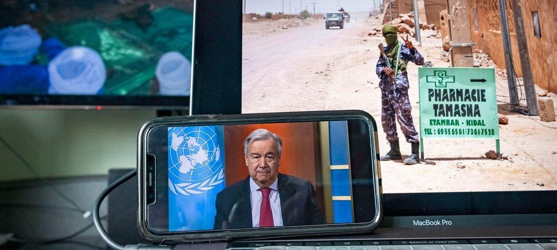 Photo ONU/Loey Felipe Conférence de presse virtuelle du Secrétaire général de l'ONU sur sur son appel à un cessez-le-feu mondial.