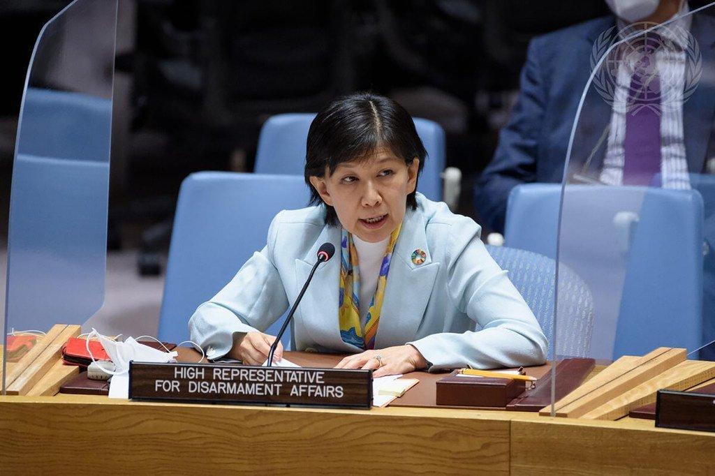إيزومي ناكاميتسو  ، الممثل الأعلى لشؤون نزع السلاح ، تطلع مجلس الأمن على الوضع في الشرق الأوسط (سوريا).