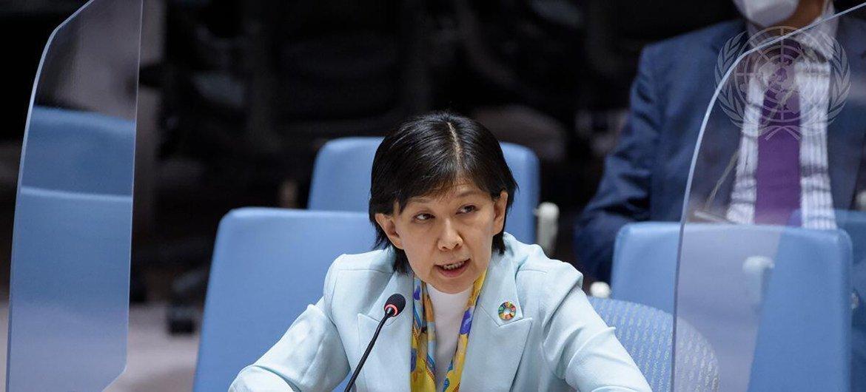 A alta representante para Assuntos de Desarmamento da ONU, Izumi Nakamitsu, discursou no Conselho de Segurança