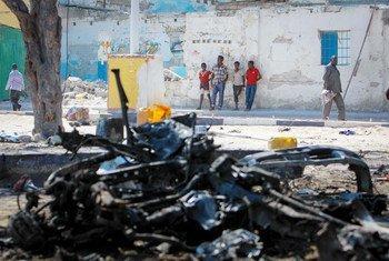 Carro bomba em Mogadíscio, na Somália