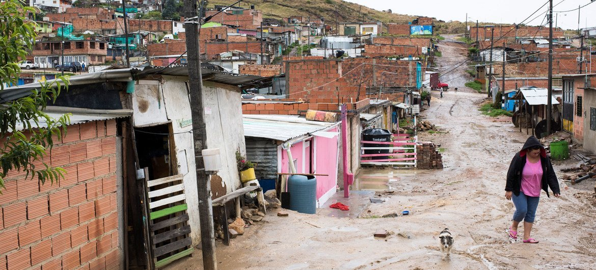 Unofficial settlement in 'Altos de la Florida', in the southern parts of the outskirts of Bogota, Colombia.