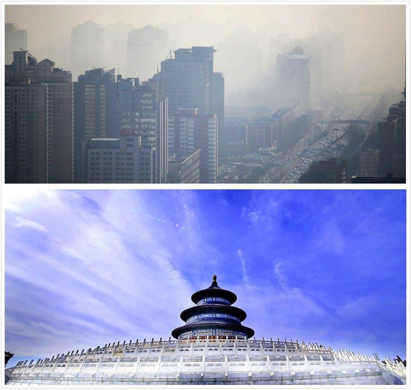 北京雾霾和蓝天对比图。