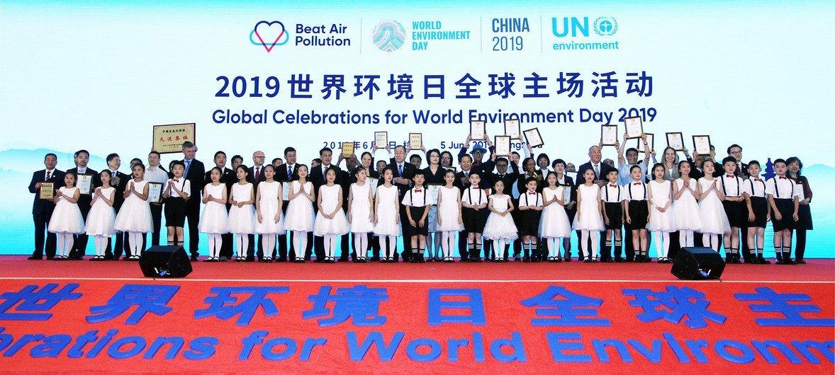 """2019年6月5日,环境署与中国政府合作在杭州举办了 """"世界环境日""""全球主场纪念活动,主题为""""蓝天保卫战,我是行动者""""。"""