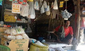 A displaced man in his small grocery shop in Thet Kae Pyin camp for displaced people in Sittwe Township of Rakhine State. (File)