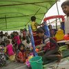 Children at Thet Kel Pyin Muslim Internally Displaced Persons (IDP) camp in Sittwe, the capital of Rakhine state, play in the child-friendly space. (2019)