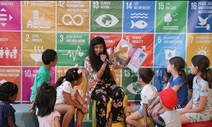 Ari Afsar, singer, songwriter and storyteller, reads at the SDG Media Zone during the High-Level Political Forum 2019 at UNHQ. (10 July 2019)