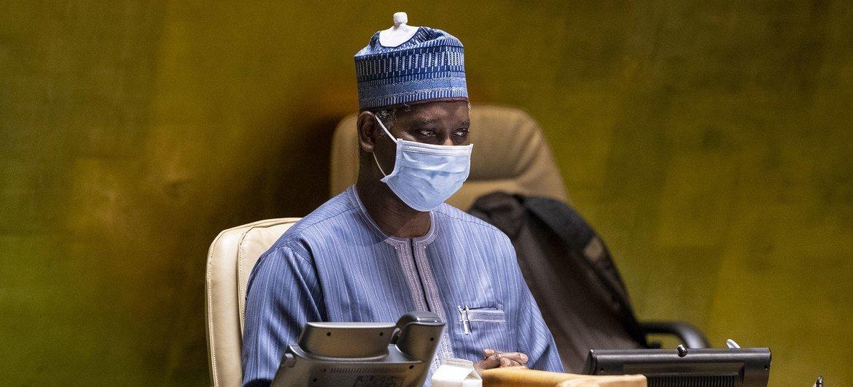 Tijjani Muhammad-Bande, Président de l'Assemblée générale des Nations Unies, préside la première session en personne de l'Assemblée depuis mars 2020.