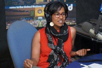 UN staffer Sinduja Srinivasan in the studios at headquarters in New York for the latest installment of UNcomplicated.