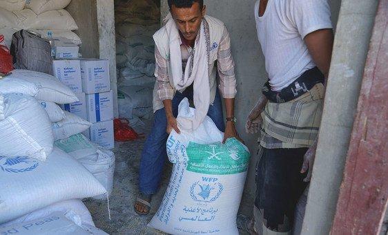 A World Food Programme food distribution point in Dhubab, Yemen. (November 2018)