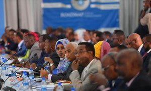 Senior officials of the Federal Government of Somalia attend the second day of the Somalia Partnership Forum in Mogadishu. (October 2019)