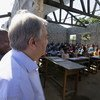 Secretary-General António Guterres visits a school affected by Cyclone Idai in the Munhava neighborhood in Beira, Mozambique. (25 June 2019)
