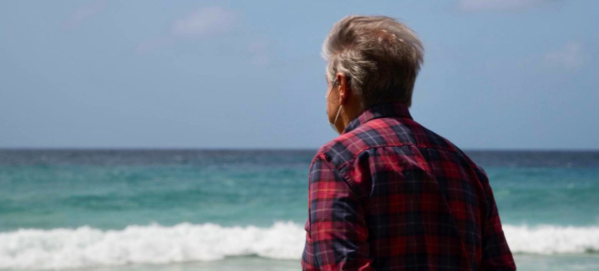 UN Secretary-General António Guterres looks across the Caribbean Sea from the island of Barbados.