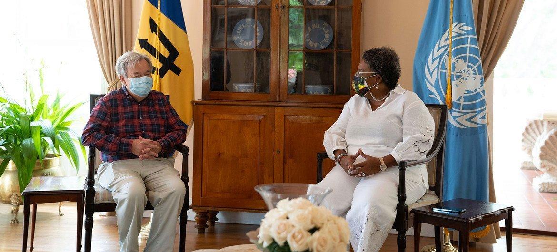 UN Secretary-General António Guterres (left) meets Mia Mottley, the Prime Minister of Barbados.