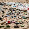 Trash at a beach in Bali where the UN Environment Programme  launched the Clean Seas Campaign.