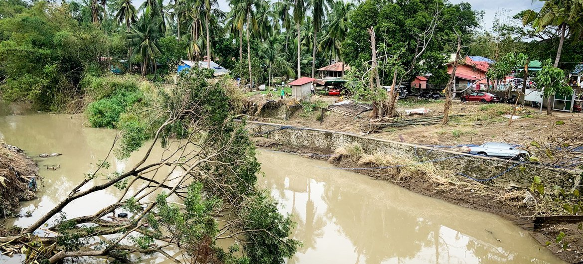 Many areas in Batangas, southern Luzon are still covered in fallen debris and floodwater due to Super Typhoon Goni (locally known as Rolly).