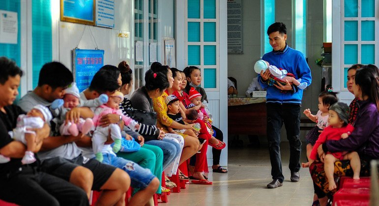 Men in Viet Nam are becoming more aware of and involved in child-caring tasks.