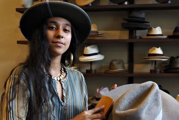 New Orleans-based Kai Bussant repairs and refurbishes hats.