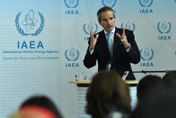 Le Directeur général de l'AIEA, Rafael Mariano Grossi, lors d'une conférence de presse (archive)