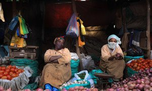 Street vendors sell vegetables at a market in Addis Ababa, Ethiopia.