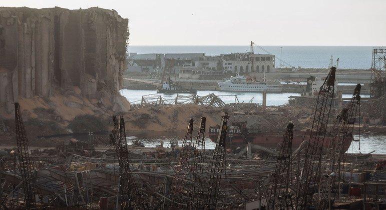 Le port de Beyrouth, au Liban, a été largement détruit par une double explosion le 4 août 2020.