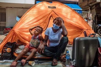 Tents have been provided for migrants in Beirut, Lebanon, who no longer have a place to live.