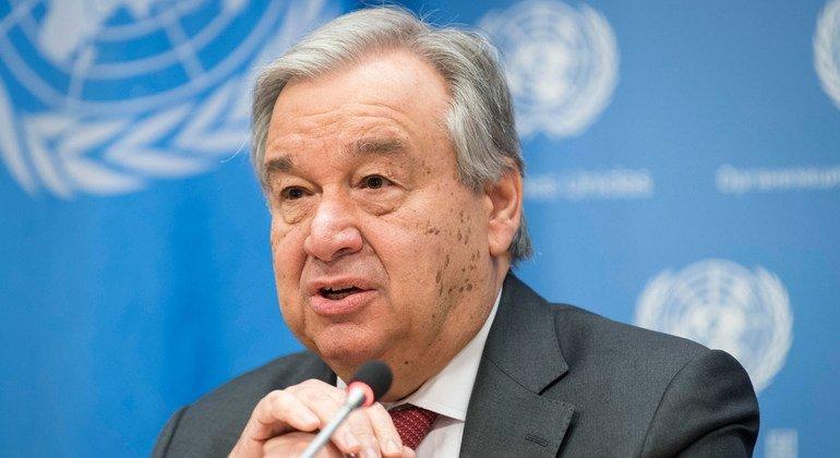 من الأرشيف: الأمين العام أنطونيو غوتيريش في مؤتمر صحفي بشأن أولوياته لعام 2020 وعمل المنظمة.
