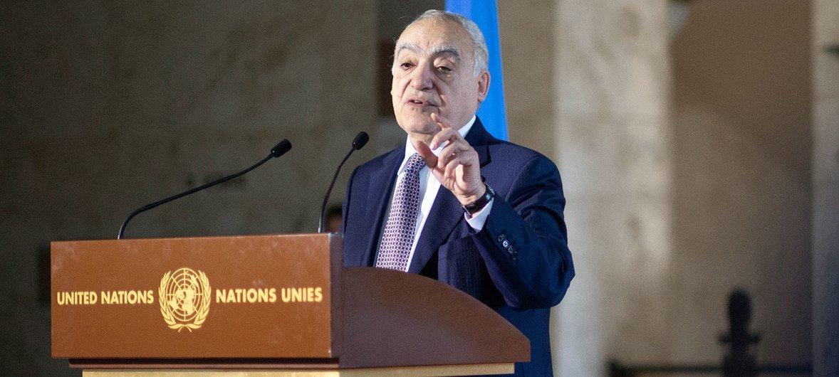 El representante de la ONU para Libia, Ghassan Salamé, durante una rueda de prensa en Ginebra.