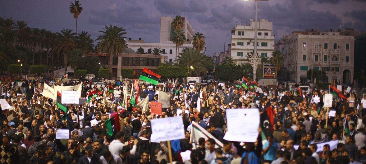 Demonstrators gather at Martyrs' Square in Tripoli, Libya (file photo).